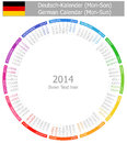2014 German Circle Calendar Mon-Sun Stock Photo