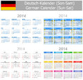 2014 German Mix Calendar Sun-Sat Stock Photography