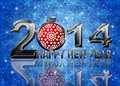 2014 Happy New Year Snowflakes Ornament Illustration Stock Photos