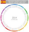 2014 Spanish Circle Calendar Mon-Sun Stock Photo
