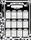 2014 Unique Black and White Floral Design Calendar Stock Photo