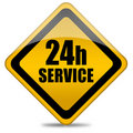 24 hours service sign Royalty Free Stock Photo