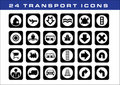 24 transport icons Stock Photography