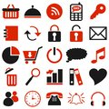 25 black red icons Royalty Free Stock Image