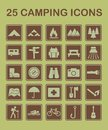 25 Camping Icons Royalty Free Stock Photo