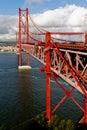 The 25 De Abril Bridge in Lisbon Stock Image