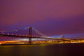 25 de Abril Suspension Bridge in Lisbon at sundown Royalty Free Stock Images