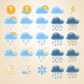 25 detailed weather icons Royalty Free Stock Image