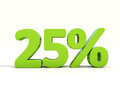 25% percentage rate icon on a white background