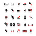 25 red-black icons set Stock Photography