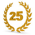 25th Anniversary Golden Laurel Wreath Stock Photos
