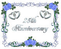 25th Wedding Anniversary Border Invitation Royalty Free Stock Photo