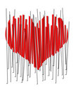 A 2D red beveled heart in vertical strips. Broken heart. Stock Images