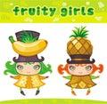 3个水果的女孩系列 图库摄影