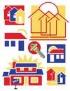 3 collection home logos Arkivbild