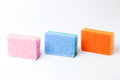3 colors of 3 sponges Royalty Free Stock Photo