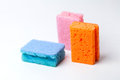 3 colors of 3 sponges Royalty Free Stock Images