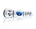 3 D chrome lettering with the word Global and earth globe in pla Stock Photography