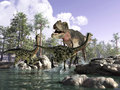 3 D scene of a T Rex, hunting two Gallimimus. Royalty Free Stock Image