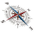 3 D Vector wind rose compass Royalty Free Stock Image