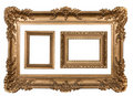 3 Decorative Gold Empty Wall Picture Frames Royalty Free Stock Images