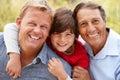 3 generations Hispanic men Royalty Free Stock Photo