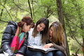 3 Girls Reading Together Stock Images