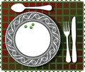 3 green beans on beautiful plate illustration Stock Photo