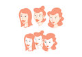 3 ladies head only Royalty Free Stock Photos
