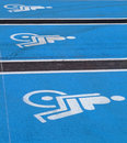 3 Logos for disabled on supermarket parking Stock Photo
