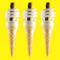 3 Low energy ice creams Royalty Free Stock Images