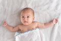 3-month old Asian baby boy after bath Stock Photo