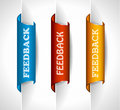 3 paper stickers tag for feedback button Stock Images