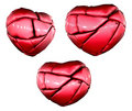 3 renders of a broken love red heart Royalty Free Stock Photos