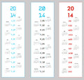 3 upright calendars for 2014 Royalty Free Stock Images