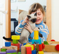 3 years child with kitten