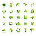 30 ícones verdes de Eco ajustaram 1 Imagem de Stock