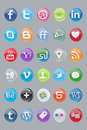 30 glossy oval social icons Stock Photo