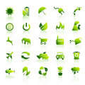 30 icone verdi di Eco hanno impostato 1 Immagine Stock