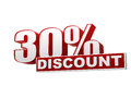 30 percentages discount red white banner - letters and block Royalty Free Stock Images