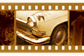 35mm frame photo with old car Royalty Free Stock Photo