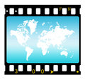 35mm slide frame with map Royalty Free Stock Image