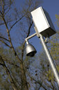 360 degrees surveillance camera on a pole Royalty Free Stock Images
