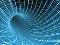 3d抽象蓝色网格隧道 库存图片