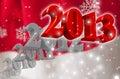 3D 2013 - Cartolina d'auguri Immagini Stock Libere da Diritti