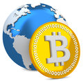 3d bitcoin with earth globe, global currency Royalty Free Stock Images