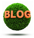 3D Blog on grassy ball Royalty Free Stock Images