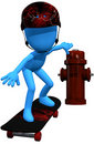 3d blue character skate Royalty Free Stock Photos