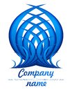 3D blue feather logo Stock Photo