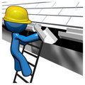 3d Blue Man Replacing Gutters Stock Image